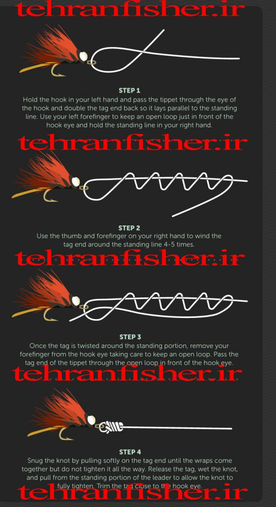 هرزه گرد ماهیگیری و آموزش گره قلاب نحوه زدن گره نخ به هرزه گرد و قلاب و لانسه و قاشقک